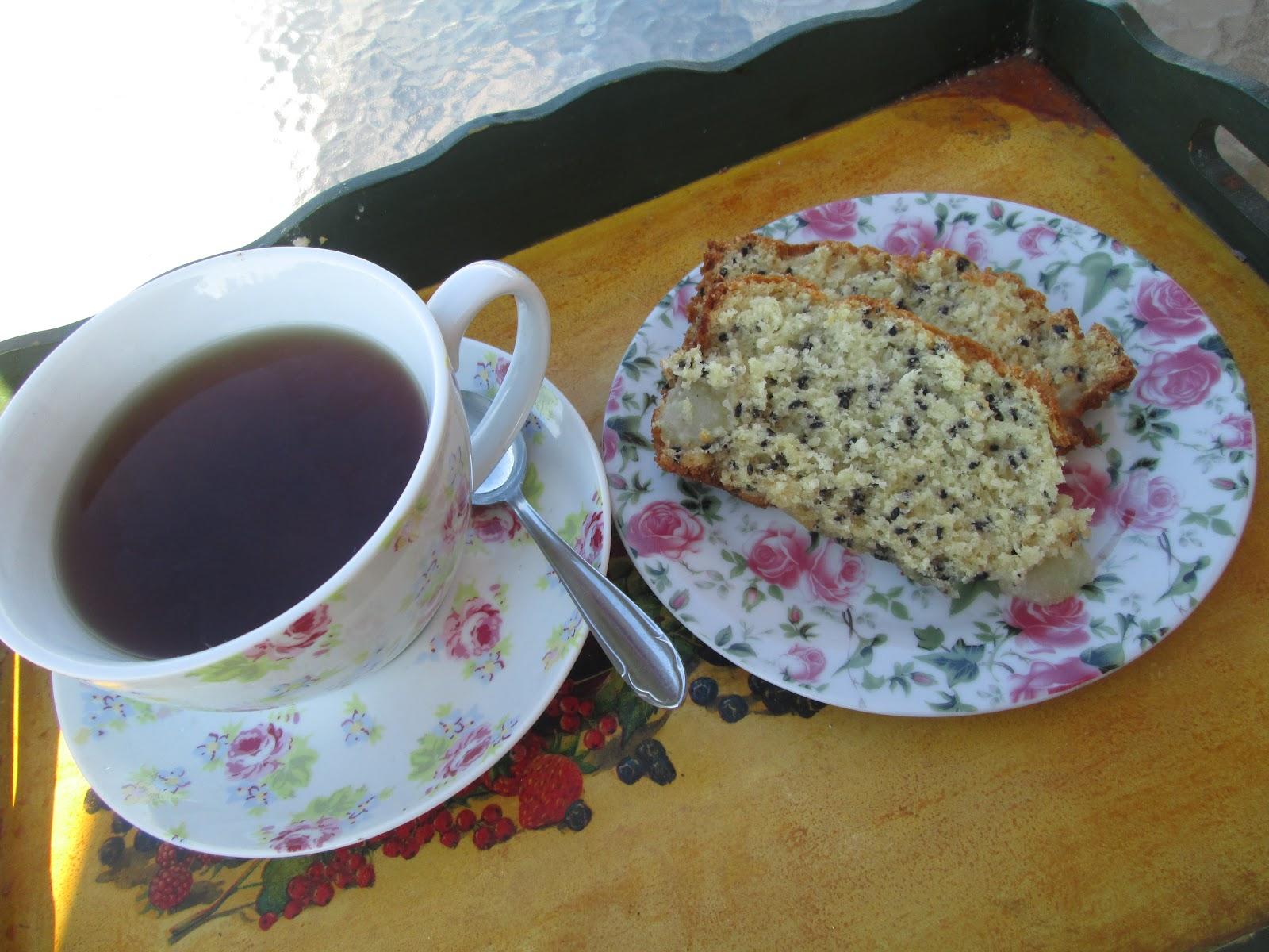 Black sesame-pears Tea cake - Recetas de cocina