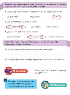 Respuestas Apoyo Primaria Español 2do grado Bloque 3 lección 1 Las coplas