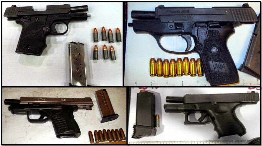 Clockwise from top left, firearms discovered in carry-on bags at: ATL, SAT, FLL & RDU