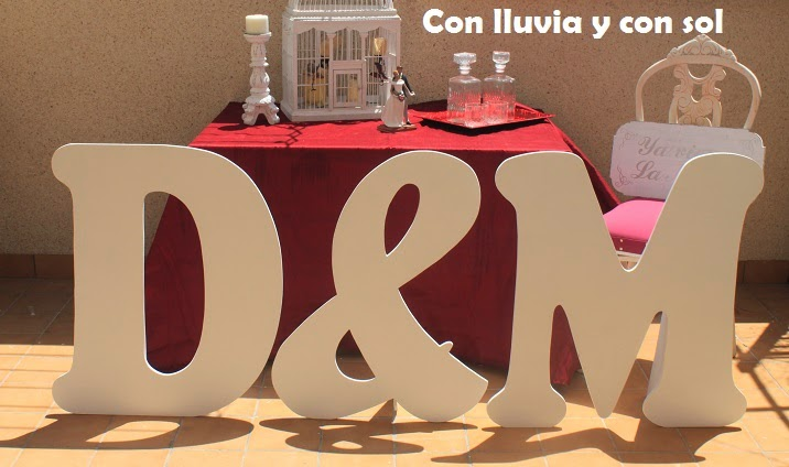 con lluvia y con sol letras gigantes para la boda de d m. Black Bedroom Furniture Sets. Home Design Ideas