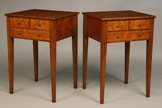 Nightstand handcrafted of solid Tiger Maple