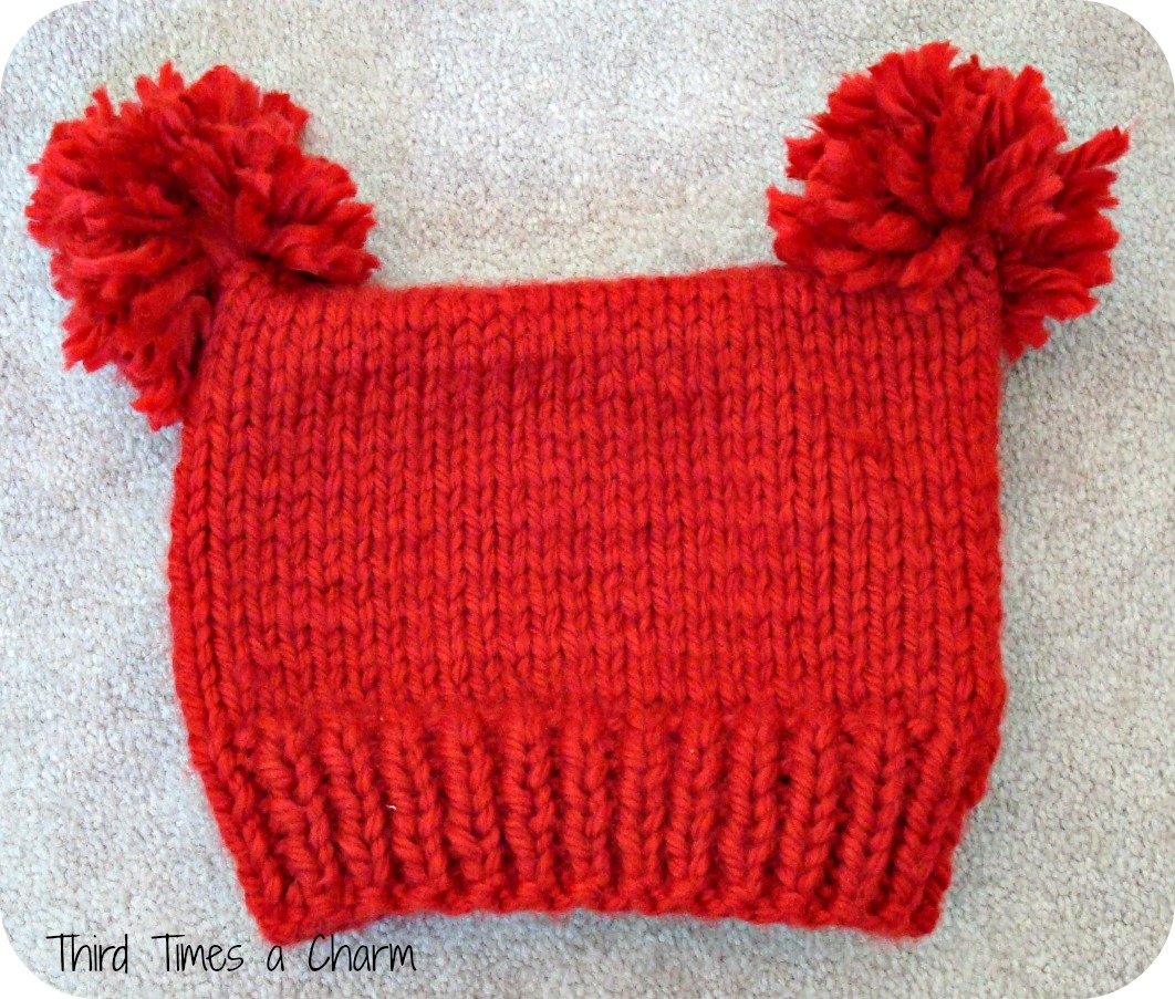 Knitting Pattern For Hat With Pom Pom : Third Times a Charm: Knit Toddler Pom Pom Hat