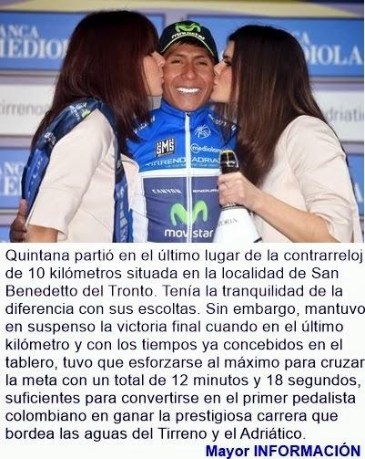 DEPORTES: Nairo Quintana, el rey de la Tirreno Adriático. Quintero el mejor escalador. 'Rigo', terc