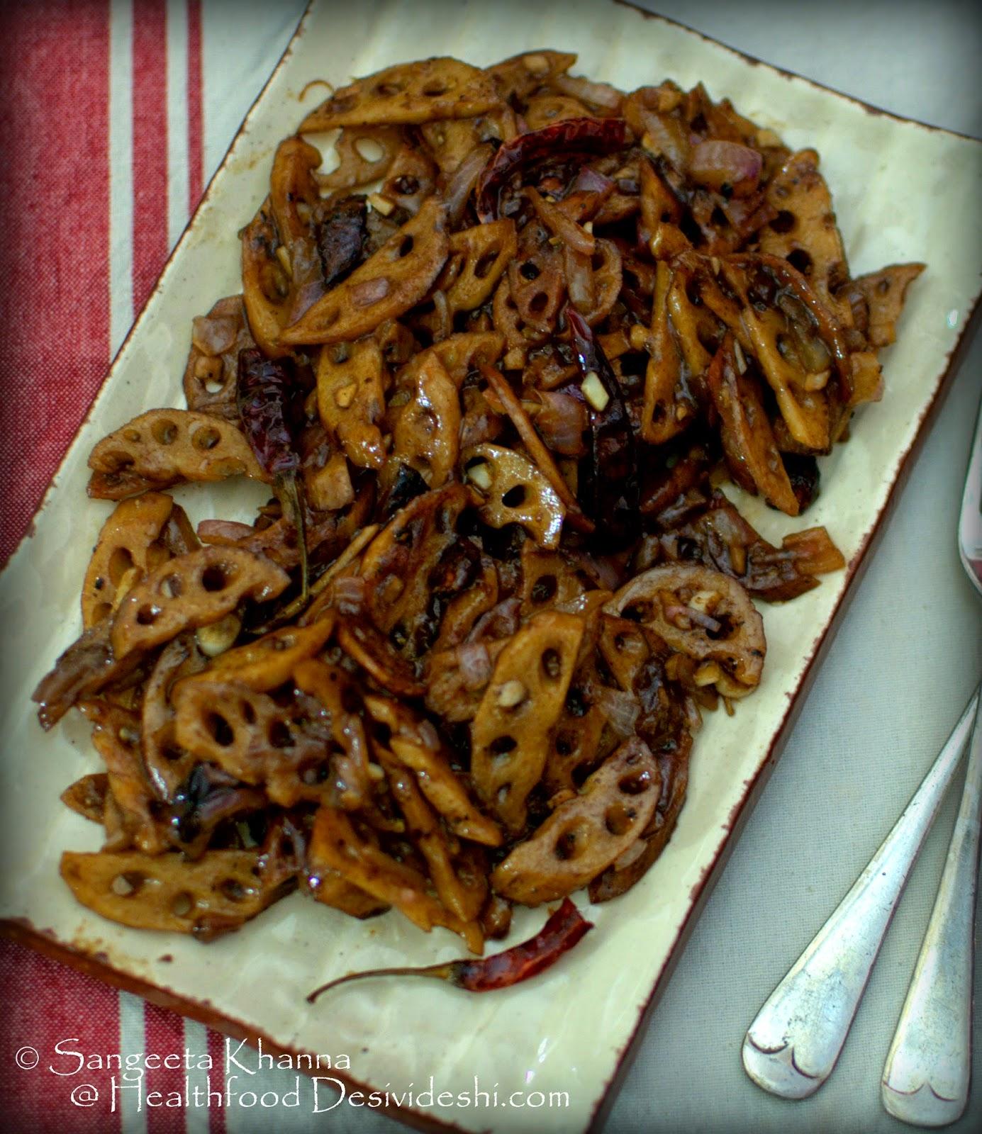 a warm Oriental salad with lotus stem | lotus stem stir fry salad with tamarind chilly sauce