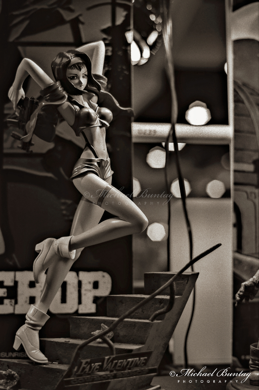 Faye Valentine, Cowboy Bebop PVC Figures, Comic-Con International, San Diego Convention Center, Marina District, San Diego, California. Ilford HP5+ Black and White 35mm negative film. © Michael Buntag.