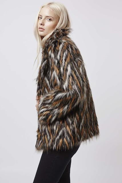 chevron fur coat, striped fur coat, brown pattern fur coat,