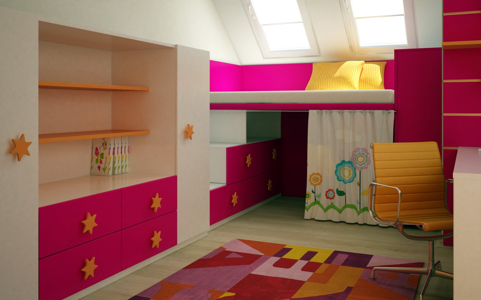 Kids Would Love This..... If You Have Less Space To Design An Ideal Room  For Your Kid, This Design May Help You A Lot. :) :) Simple And  Sophisticated ...