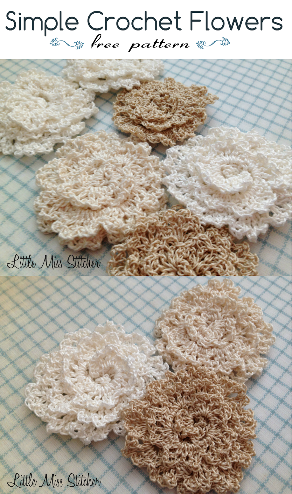 Simple Crochet Flower Pattern Free : Little Miss Stitcher: Simple Crochet Flower Free Pattern
