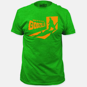 Godzilla strikes on this green t-shirt!