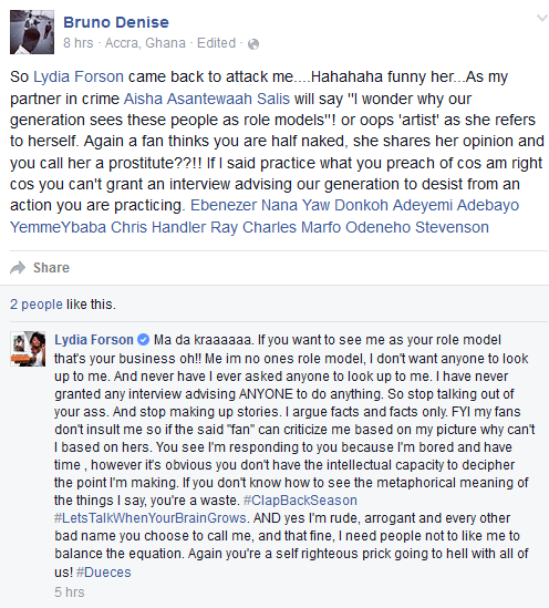Lydia Forson fights with fans online