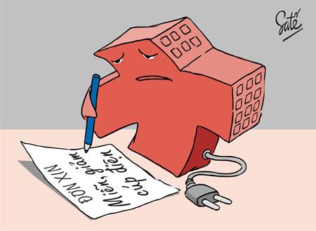 Tranh biếm họa việc cúp điện thường xuyên