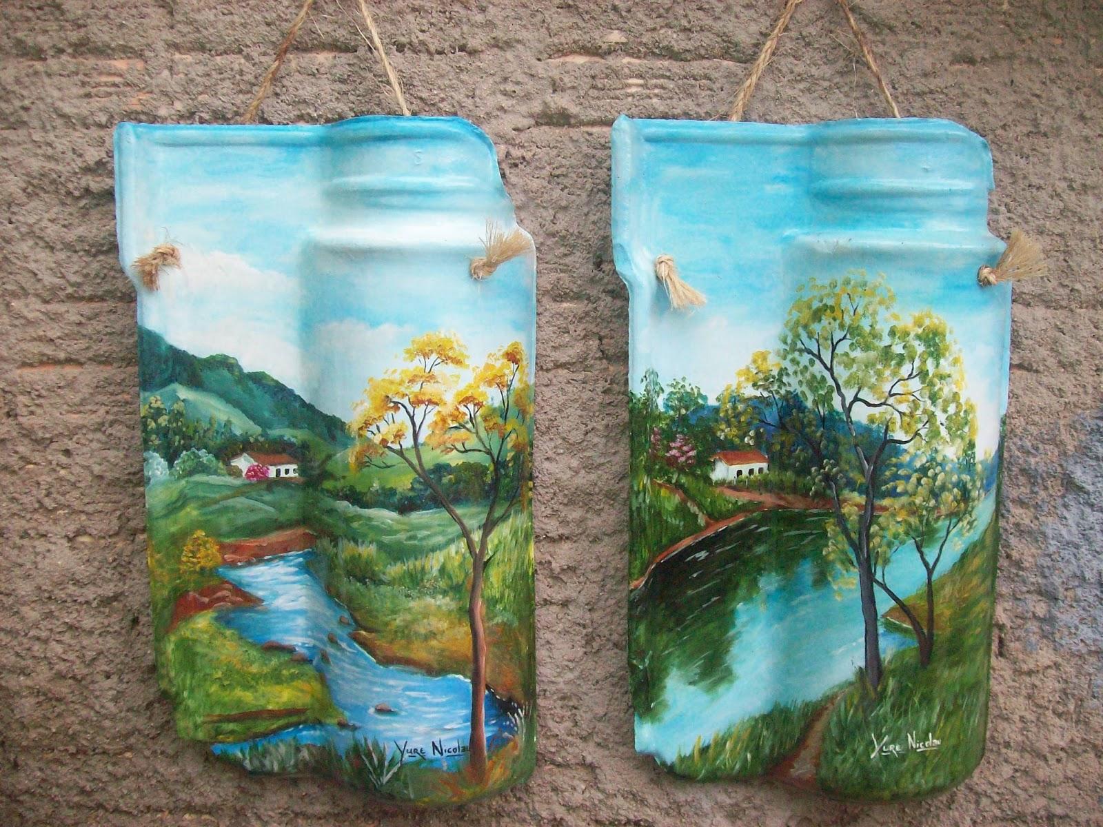 : Pintura em telha pintura em madeira MDF mandalas e reciclagem #328899 1600x1200
