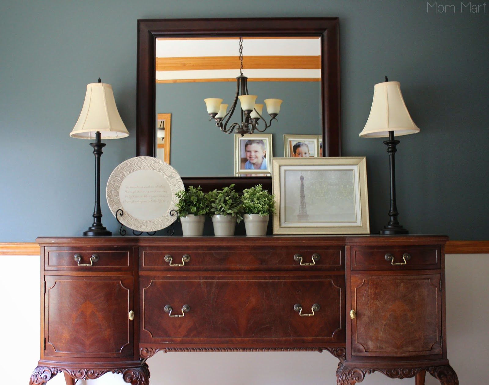 Inexpensive Dining Room Makeover Neutral DIY Paint ChairRail Vignette