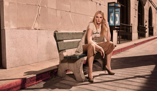 Lara Stone wears neutrals for the H&M Spring/Summer 2015 Campaign