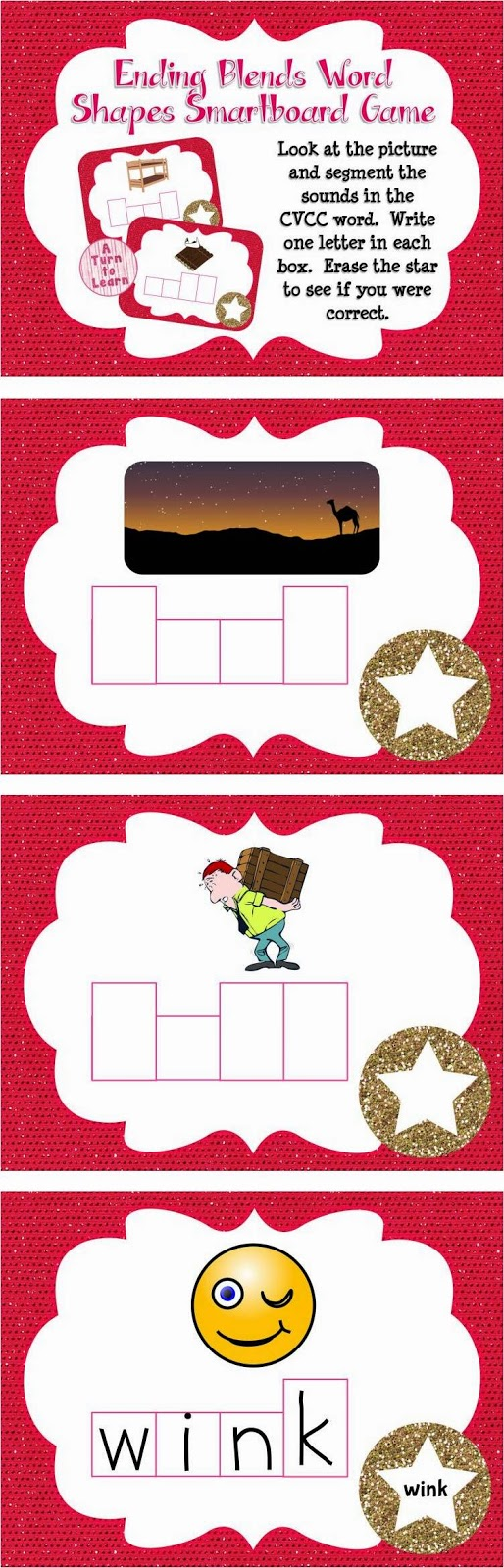 Ending Blends/CVCC Word Shapes Game for Smartboard or Promethean Board!