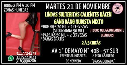 MARTES 21 DE NOVIEMBRE DE 2 PM A 10 PM HERMOSAS CHICAS HACEN RUMBA SW NUDISTA