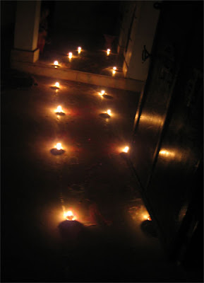 Lights on the way to a House in Diwali (Deepawali)