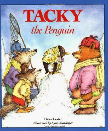 http://www.amazon.com/Tacky-Penguin-Helen-Lester/dp/0395562333/ref=sr_1_1?s=books&ie=UTF8&qid=1422750779&sr=1-1&keywords=tacky+the+penguin&pebp=1422750777501&peasin=395562333