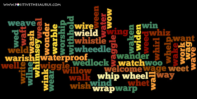 positive verbs that start with w word cloud