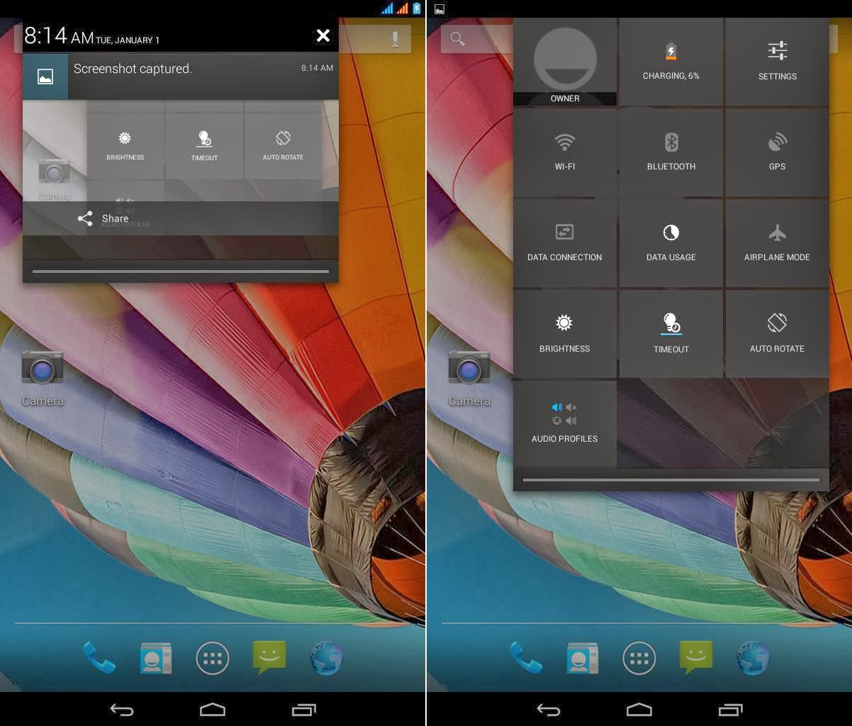 SKK Mobile Cyclops II Notification Area & Quick Settings