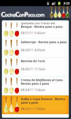 Recetas de cocina en Android