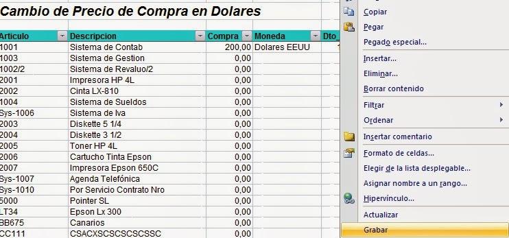formato lista de precios