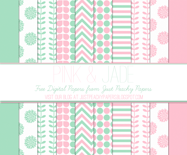 Free Digital Paper: Pink and Jade