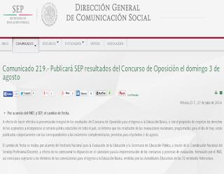 Resultados Exámen Concurso de OPOSICION 2014 por internet publicacion registro 3 de Agosto 2014