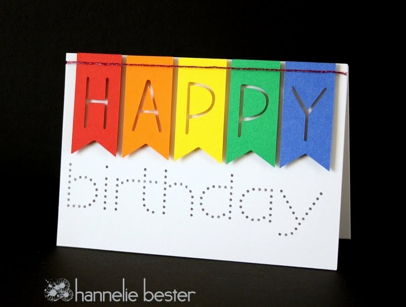 rainbow banner happy birthday card
