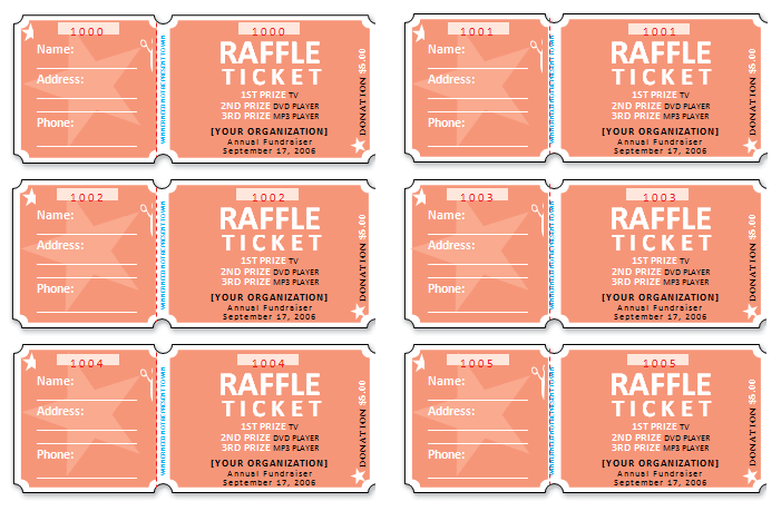 Document Templates Free Raffle Ticket Templates – Raffle Ticket Word Template