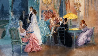 A painting of a Victorian party. Couples are gathered about a ballroom in various modes of conversation.