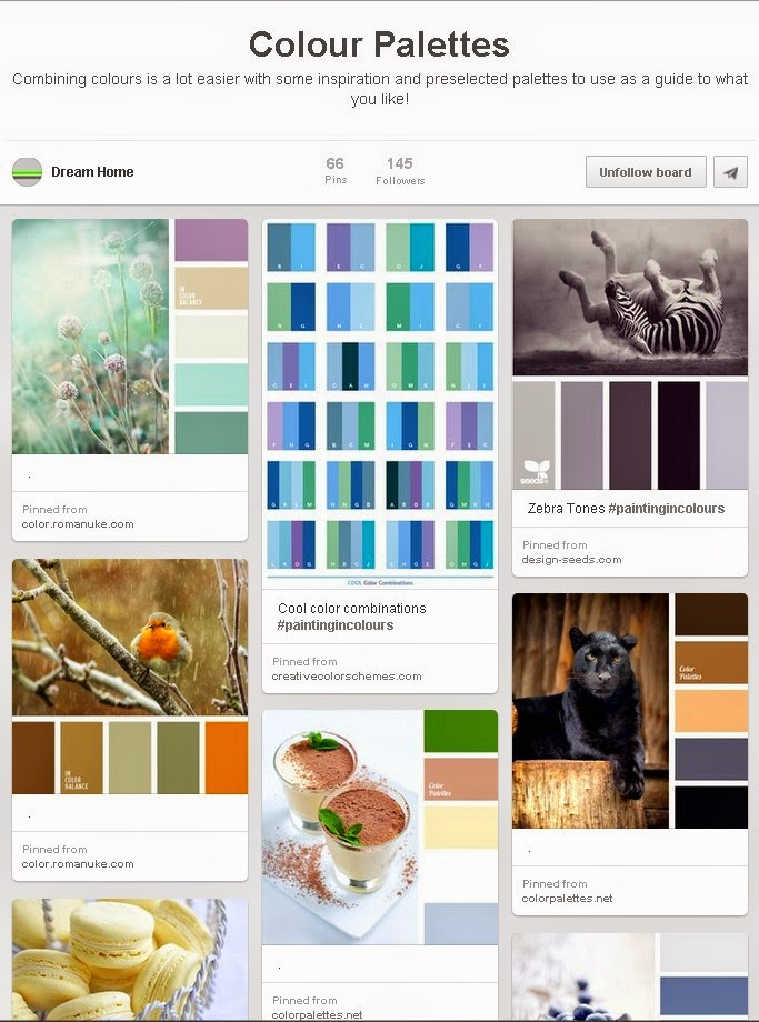 Colour palettes for choosing colour scheme on Pinterest good for business showcase