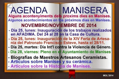 AGENDA MANISERA SEMANA 47 DE 2014