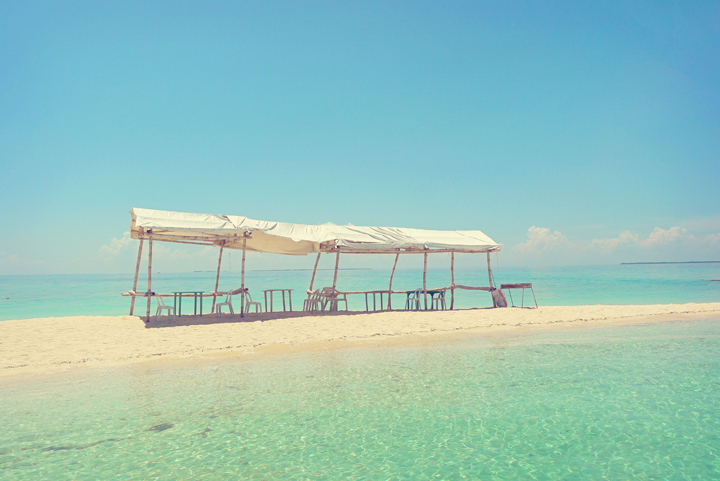 Beach tents in Carbin Reef, Sagay City.