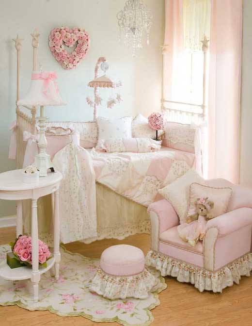 baby bedroom decor with beautiful pink color