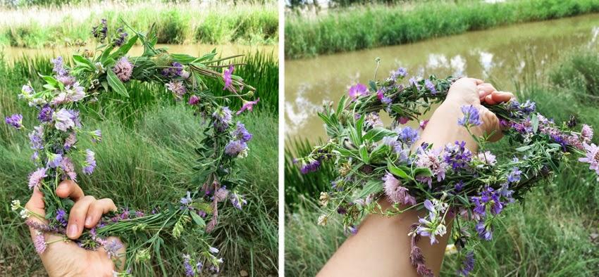 Diy corona de flores silvestres improvisado6