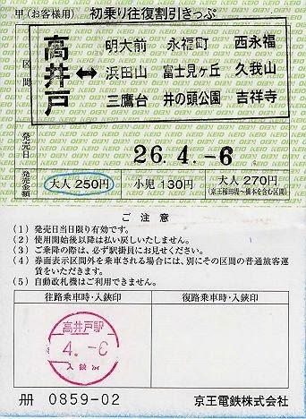 京王電鉄 初乗り往復割引きっぷ1 高井戸駅(常備軟券)駅