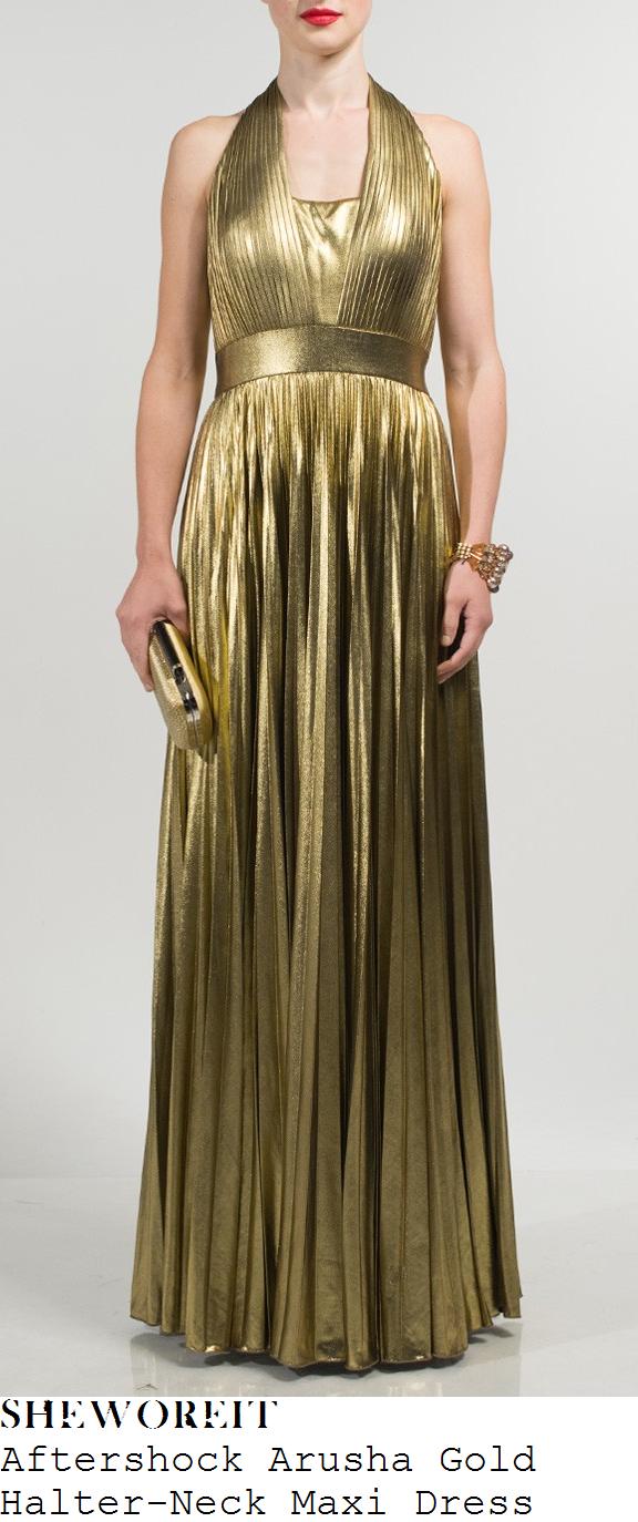 hannah-barrett-tarnished-gold-halterneck-pleated-maxi-dress-x-factor