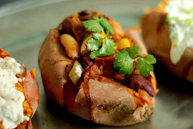 Baked Sweet Potato with 3 bean chili recipe