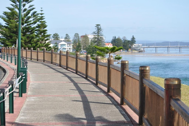 View of The Entrance town, NSW, from walking path.