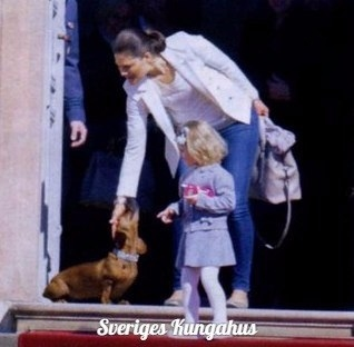 Crown Princess Victoria of Sweden and Princess Estelle of Sweden last week at Amalienborg Palace in Copenhagen, Sweden.