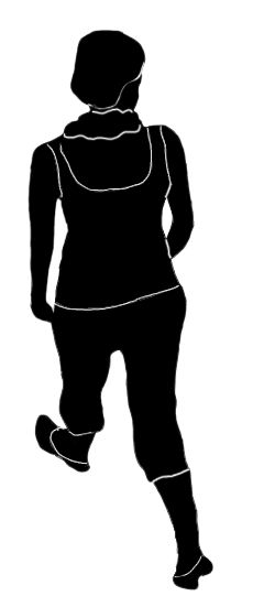 back silhouette of a woman walking