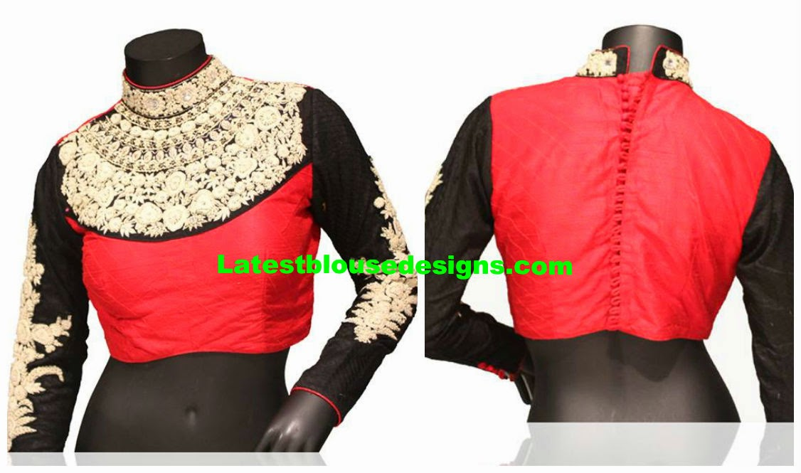 high neck maharani blouse