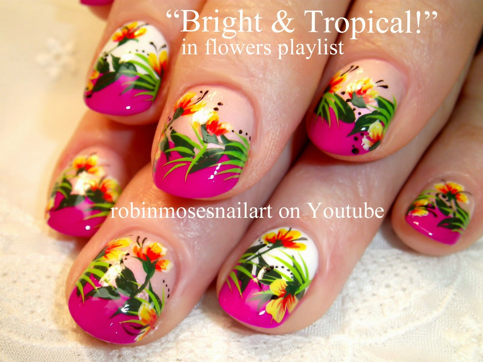 tropical flower nail art nail art flower nail designs