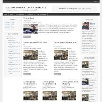 Magazine Basic blogger template. 3 column blogspot template. download free blogger template