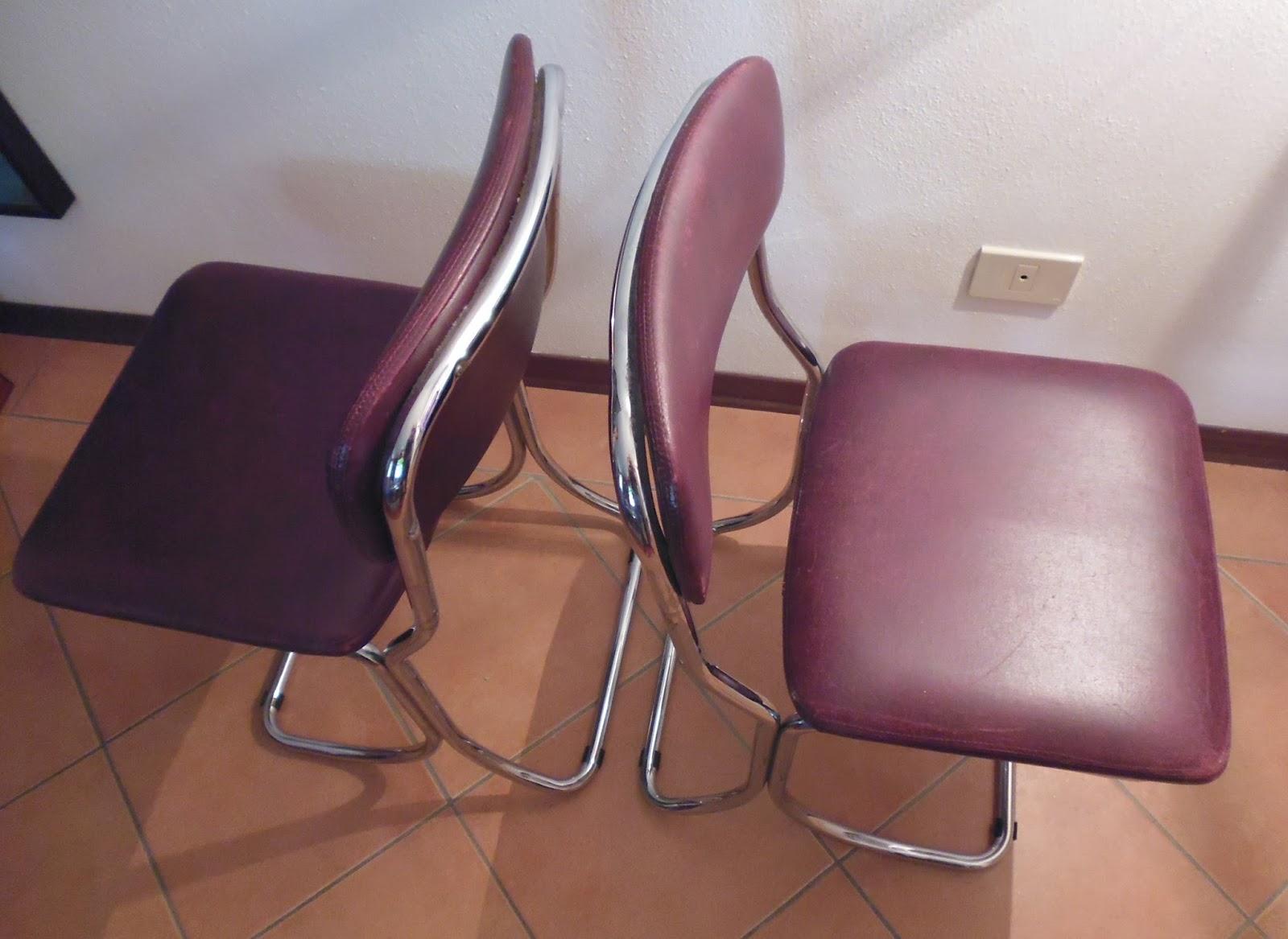 Rimodern straordinarie sedie in pelle e cromo vintage for Sedie vintage design