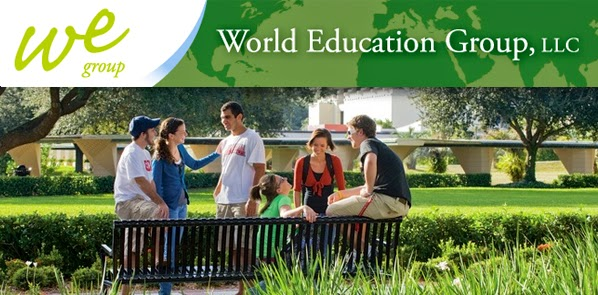 Image from World Education Group web home page, students meeting together on a campus.