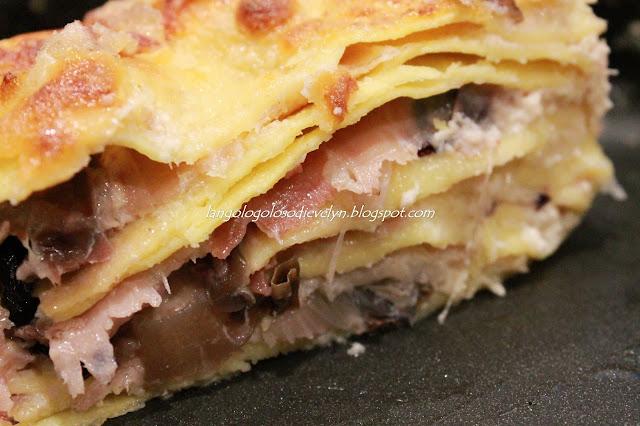 lasagne con radicchio, provola e speck....[ricetta bimby]