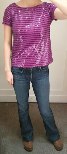 J.Crew Sequin Stripe Tee in Burgundy