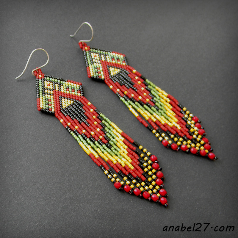 Этно-серьги из бисера - seed bead earrings - beaded jewelry